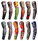 ANGELANGELA S - XXXL 12PCS Arts Fake Temporary Tattoo Arm Leg UV Protection Soft Sleeves Stockings, Stretchable for Men Women & Kids, Outdoor Cosplay Halloween Costume Accessories (S 12PCS)