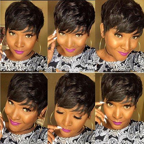 - Short Pixie Cut Wigs Short Human Hair Wigs Layered Cut Short Bob Wigs for Black Women 1b color