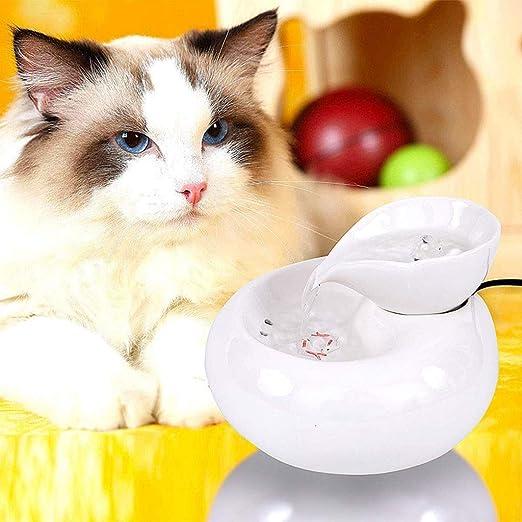 IMDOU - Fuente de Agua de cerámica para Gatos, Gato y Cachorro dispensador automático de Agua con