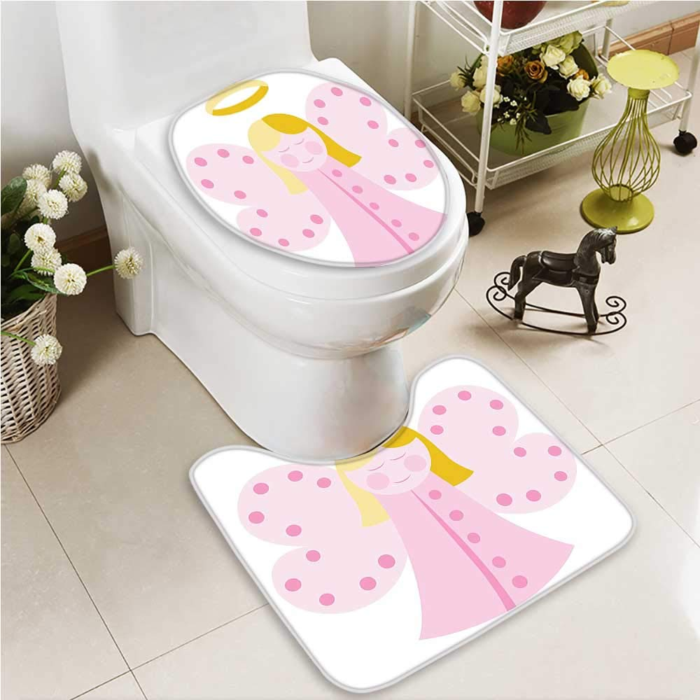 VROSELV Toilet carpet floor mat Baptism Design Boy Christening Striped Dotted Background Christian 2 Piece Shower Mat set