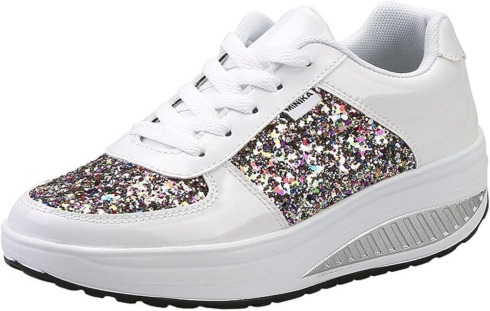 Mujer Zapatillas de Deporte Cuña Zapatos para Caminar Aptitud Plataforma Sneakers con Cordones Calzado de Tacón 4cm