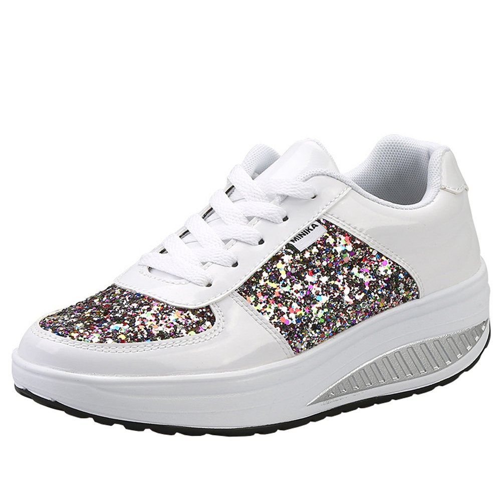 Lanchengjieneng Ladies Walking Platform Shoes, Womens Fitness Orthopedics Wedge Sneakers with 3D Glitters B07FDYGM5R 6.5 US Women/37 EU|White