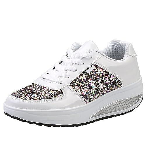 Mujer Zapatillas de Deporte Cuña Zapatos para Caminar Aptitud Plataforma Sneakers con Cordones Calzado de Tacón 4cm: Amazon.es: Zapatos y complementos