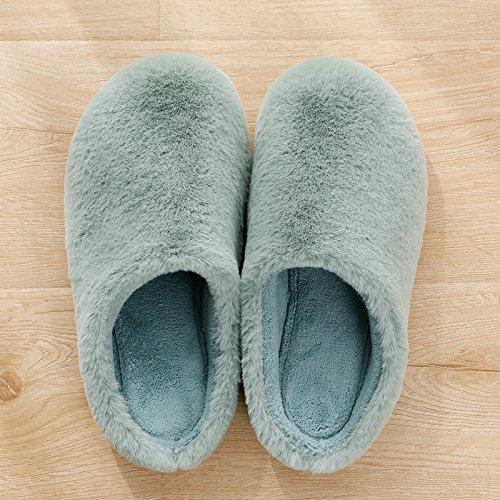 Y-Hui Zapatillas de invierno, Señoras Hogar, Casa amantes, zapatillas de algodón, zapatillas, suelo blando Invierno Hombre Wax gourd green