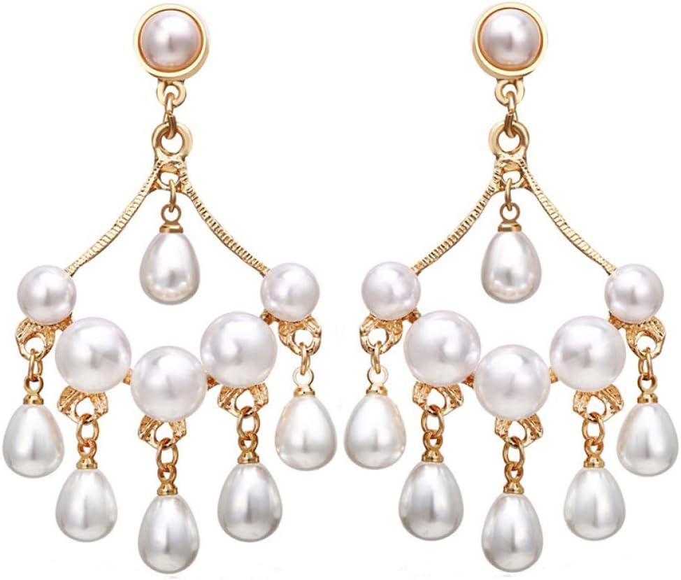 FACAI Pendientes De Perlas para Mujer Pearl Drop Gold 925 SilverJewellery Stack Layer Dangle Retro Elegant Girls Gift