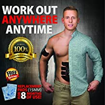 EMS Abs and Muscle Stimulator Belt: Electronic Muscle Stimulation and Exercise Trainer to Burn Fat and Tone Abdominals, Biceps, Triceps and Lower Body for Men and Women - 30 Free Replacement Gel Pads
