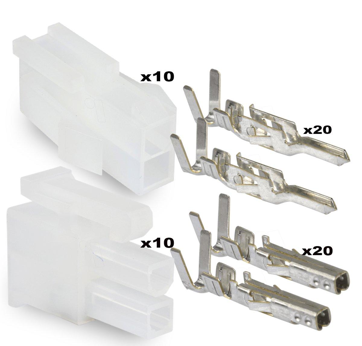 4x Molex Connector Mini Fit JR male female door 2x2 4 piece poles