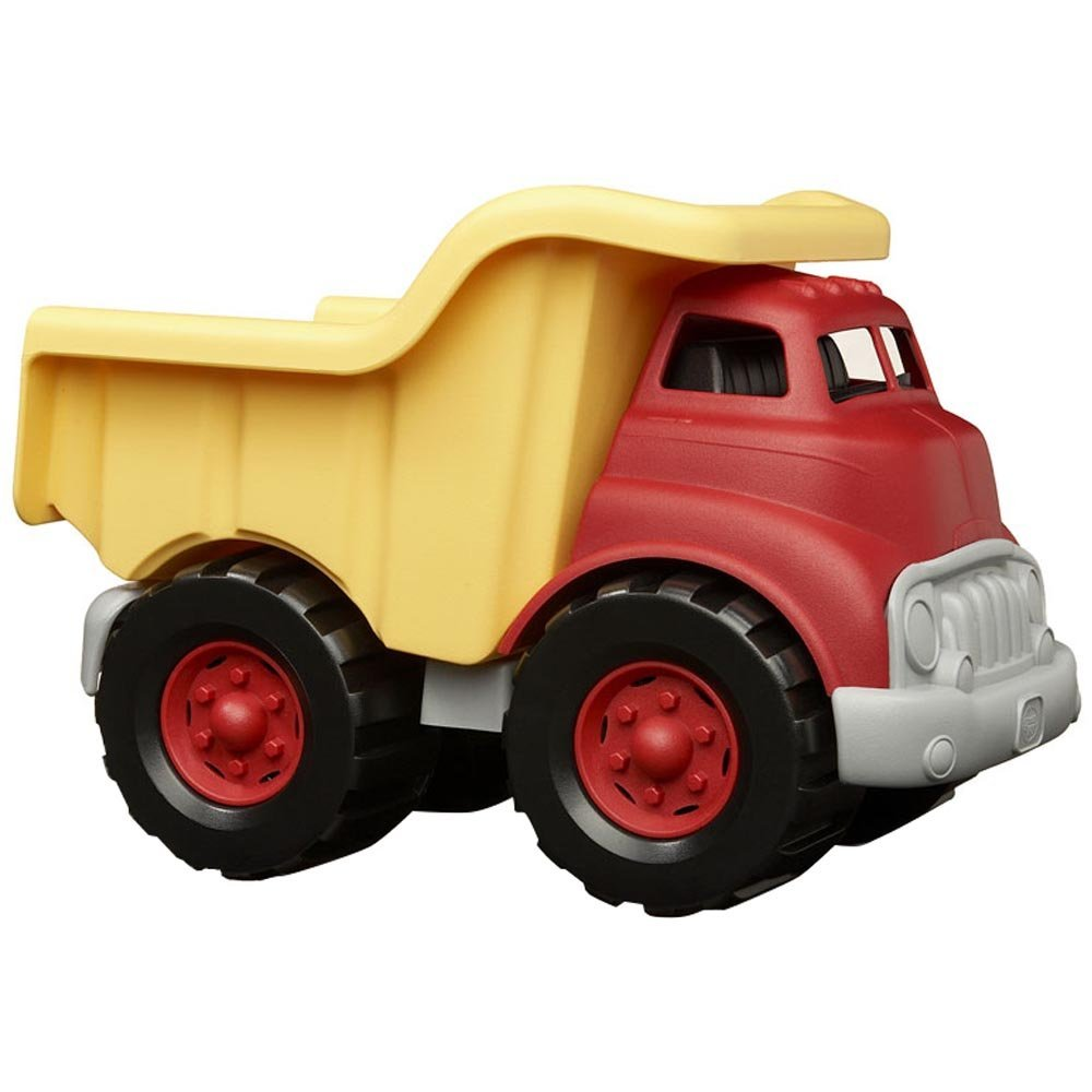 Green Toys Dump Truck in Yellow and Red - BPA Free, Phthalates Free Play Toys for Gross Motor, Fine Motor Skill Development. Pretend Play