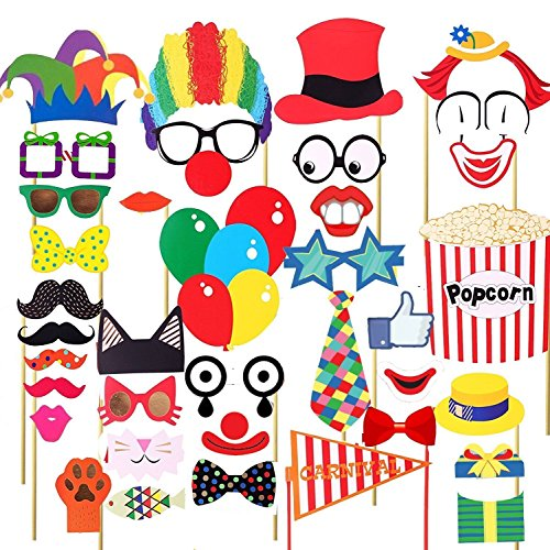 36Pcs Circus Party Decoration Photo Booth DIY Kit Funny Clown by Wedding (Diy Instagram Selfie Halloween Costume)