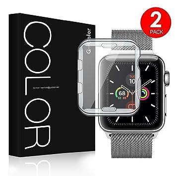 G-Color Protector de Pantalla/Funda de Apple Watch 44mm Serie 5/ Serie 4, Ultra Transparente, TPU, Serie 5/4 , Protector Pantalla/Carcasa para Apple ...
