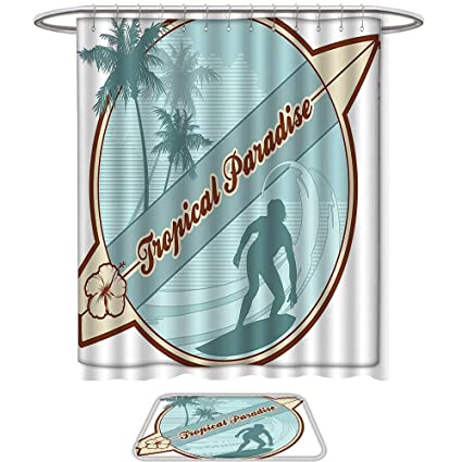 QINYAN-Home Print Bathroom Rugs Shower Curtain Surf Decor Retro Image with Silhouette of a