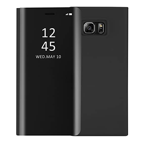 best sneakers c43e6 951e4 Mupoo Samsung Galaxy S6 Edge Plus Case, Luxury Smart Clear View Window  Metal Electroplate Plating Stand PC Mirror Flip Folio Case Full Body  Shockproof ...