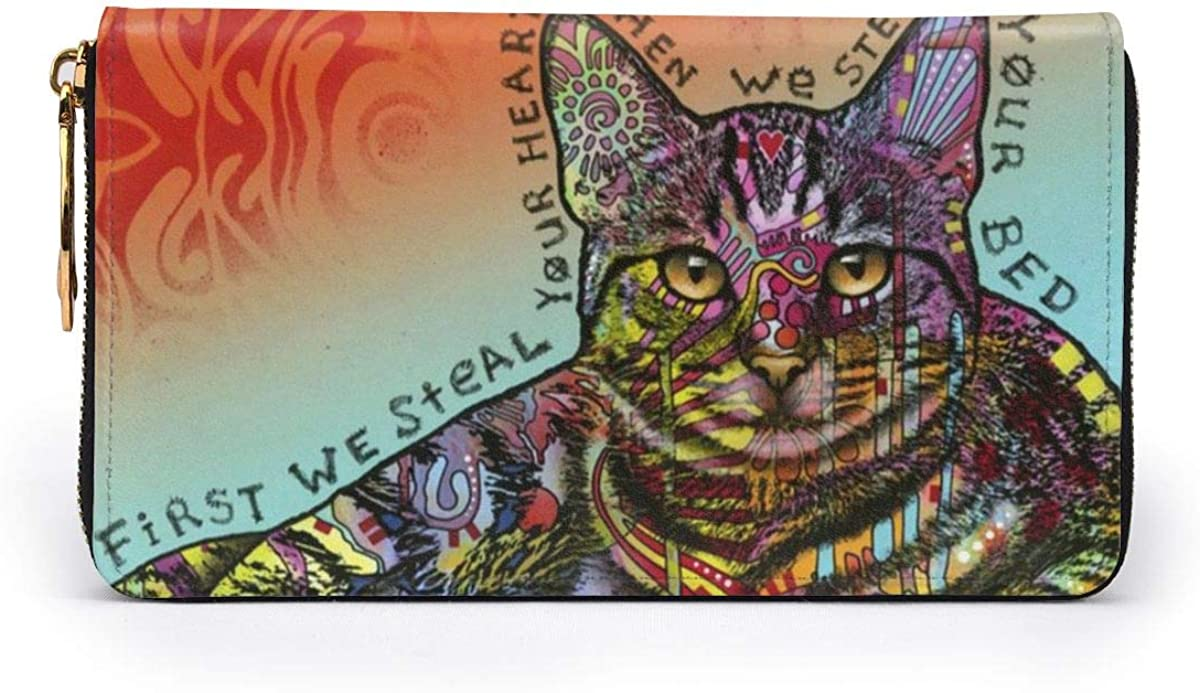 Steals Your Heart /& Bed Cat Womens RFID Blocking Zip Around Wallet Genuine Leather Clutch Long Card Holder Organizer Wallets Large Travel Purse