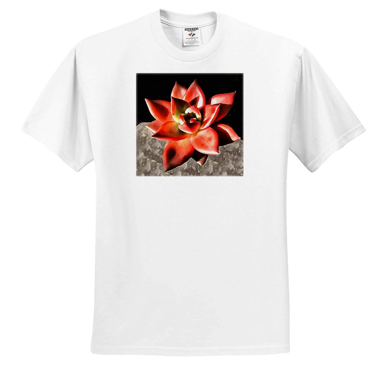 Adult T-Shirt XL 3dRose Taiche ts/_309623 Succulent Color Me Coral Garden Succulent Acrylic Painting