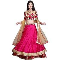 JULEE Fashion Women's Banglori Satin Semi-Stitched Lehenga Choli (LA82-Gulabo lehenga-JUL05_Pink_Free Size)