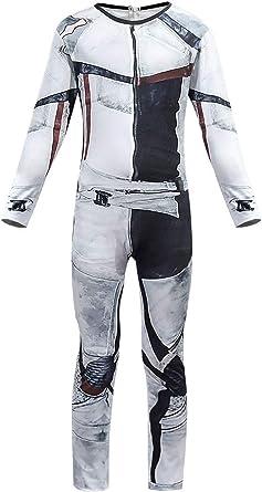 Hibuyer Toddler Carlos Costume Deluxe Jumpsuit Grey Bodysuit Halloween Cosplay Costume for Kids