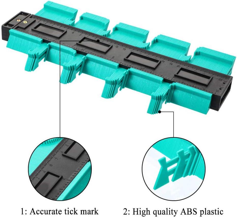 AOBAMA Contour gauge 12/14/25 / 50cm Contour Gauge Plastic Copy Contour Gauges Standard Wood Marking Tool Tile Laminate Tile-50cm red 12cm Green