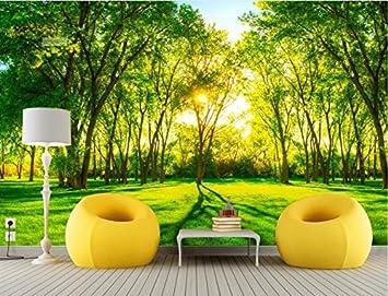 Lwcx Hermoso Bosque Verde Paisaje 3d Wallpaper Restaurante