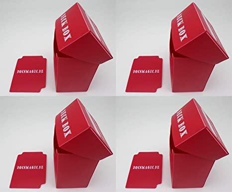 docsmagic.de 4 x Deck Box Red + Card Divider - Caja Roja - Pokemon - Yu-Gi-Oh! - Magic