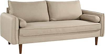 Modern Living Room Fabric Sofa, Couch with Bolster Pillows (Hazelnut)
