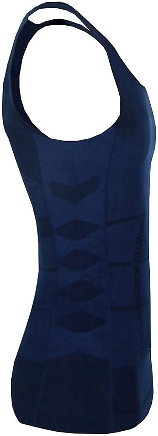 Men's Slimming Vest Warm Instant Weight Loss Belly Fat Love Handles Remover Body Shaper Firms Abdomen Back Support Compression Fit Gynecomastia Blue