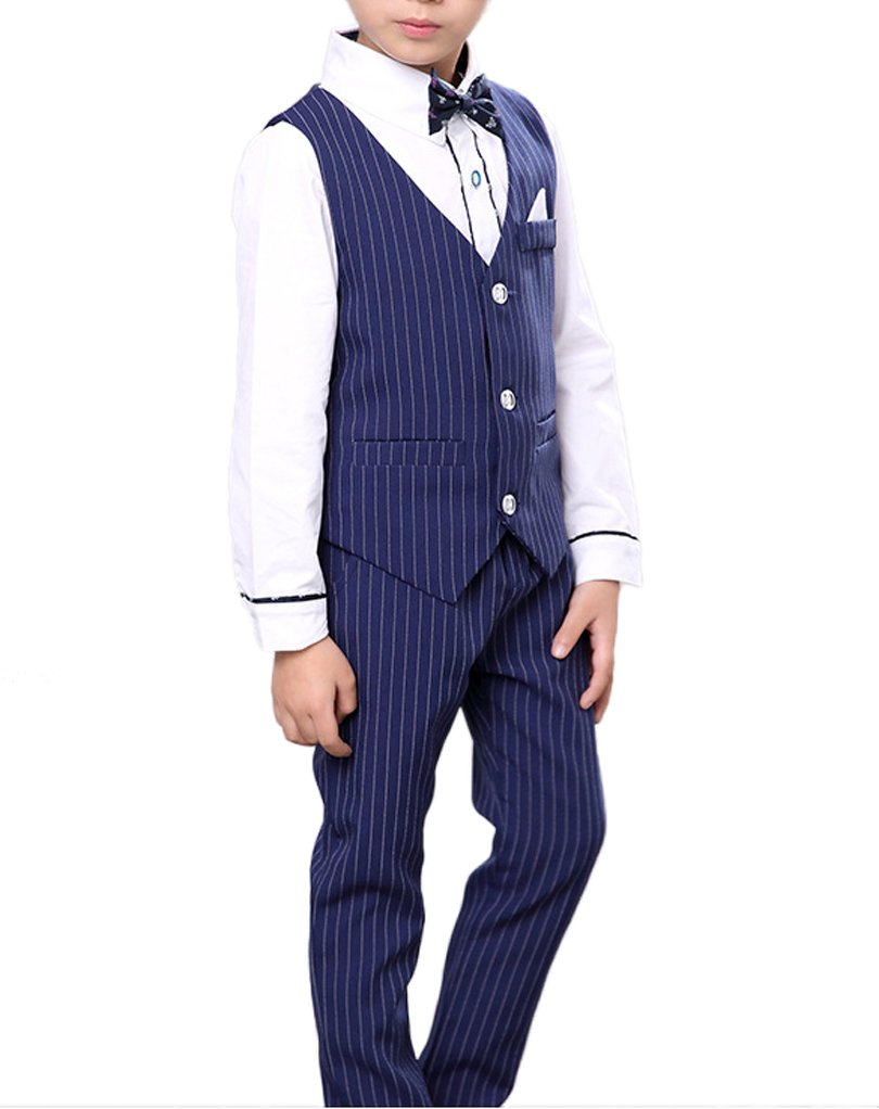 1930s Childrens Fashion: Girls, Boys, Toddler, Baby Costumes Boys Pinstripe Vest Set Vest + Pants + Shirt 3 Pieces Black & Blue 2 Colors $29.99 AT vintagedancer.com