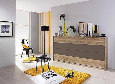 Cama plegable horizontal de madera de roble claro/lava gris, con somier, 90