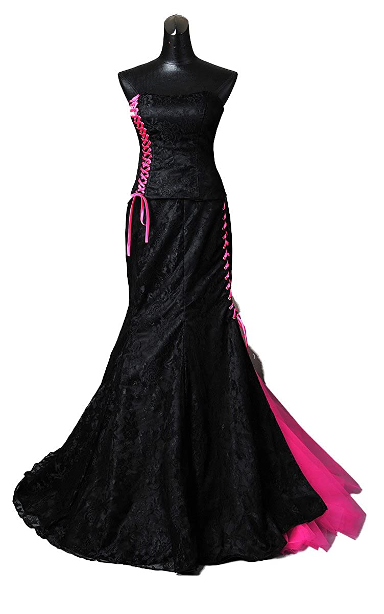 White Rose Black And Pink Wedding Dress Gothic Style Made To Measure