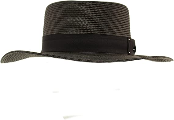 Unisex Summer Wide Brim Flat Top Pork Pie Derby Fedora Hat Adjustable M