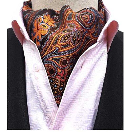 (L04BABY Men's Paisley Orange Floral Silk Cravat Ties Jacquard Woven Ascot Scarf)