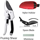 Garden Anvil Pruner, Pathonor Professional SK-5 Steel Pruning Shears Hand Secateurs with Holster Springs Whetstone Spare Blade Less-Effort Sharp Comfort Best for Branch, Bonsai, Trees, Hedges