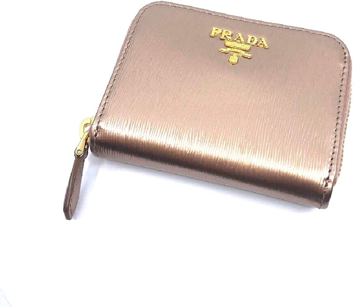 sito web per lo sconto ultima moda negozio online Prada Portamonete Vitello Move Rose Gold Metallic Leather Zip ...