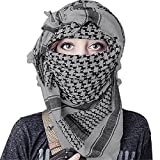 100% Cotton Keffiyeh Tactical Desert Scarf Wrap Shemagh Head Neck Arab Scarf Gray