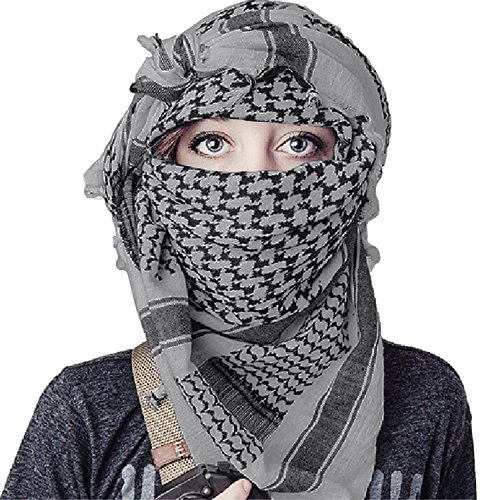Military Wrap (100% Cotton Keffiyeh Tactical Desert Scarf Wrap Shemagh Head Neck Arab Scarf Gray)
