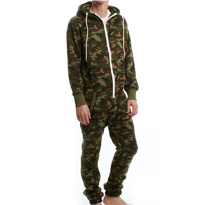Unisex Mens Camouflage Womens All In One Ladies Fleece Jumpsuit Nightwear S M L