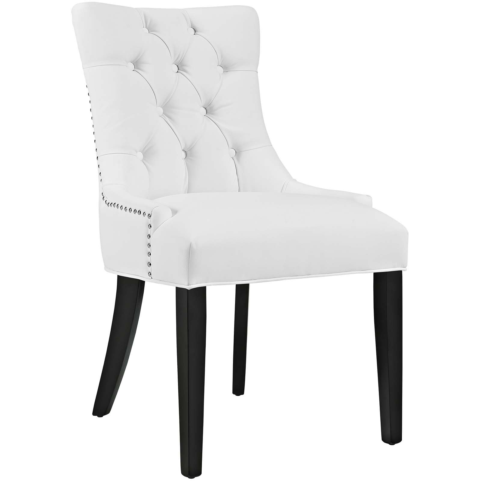 Modway Regent Modern Elegant Button-Tufted Upholstered Vinyl Dining Side Chair With Nailhead Trim in White by Modway