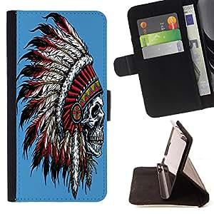 King Case - FOR Apple Iphone 4 / 4S - Man is mortal - Prima caja de la PU billetera de cuero con ranuras para tarjetas, efectivo Compartimiento desmontable y correa para la mu?eca