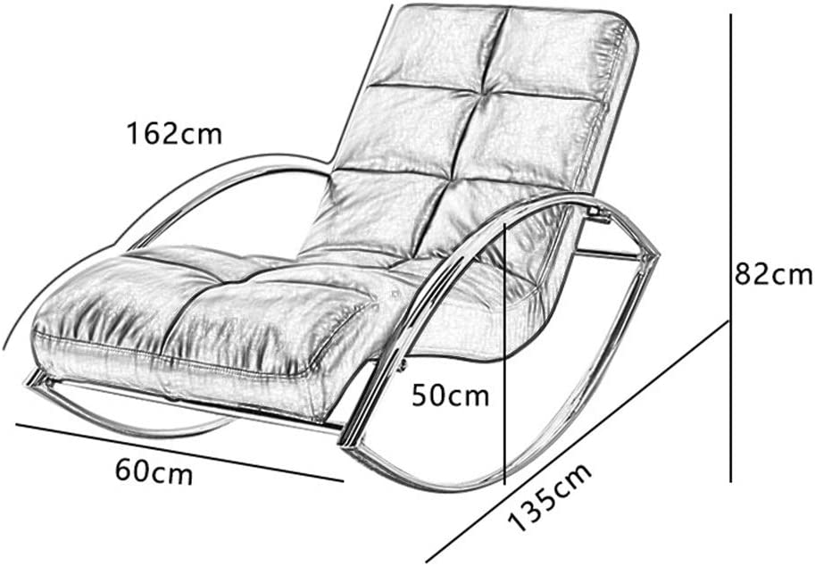 Chaise Berçante Avec Dossier Et Accoudoir Fauteuil À Bascule Coussin En Cuir Relax Rocking Chair Avec Oreiller Fauteuil (Couleur : Vert) Vert