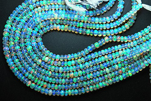 (11'' Full Strand, Super Finest Full Fire Flash, White Natural Ethiopian Opal Smooth Rondelles, Size 4-4.5MM)