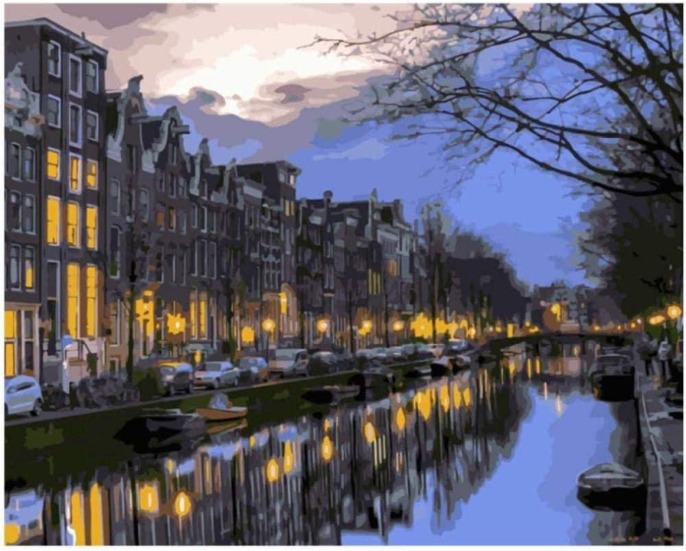 Pintura por números DIY Paisaje nocturno holandés Arte de la pared Cuadro Pintura acrílica para la decoración de la boda40x50cm (Sin marco)