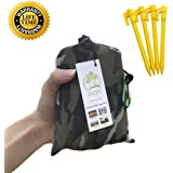 "Outdoor Picnic Blanket (71"" x 55"") -Compact, Lightweight, Sand Proof Pocket Blanket Best Mat for The Beach, Hiking, Travel, Camping, Festivals with Pockets, Loops, Stakes, Carabiner"