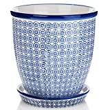Nicola Spring Porcelain Flower Pot With Drip Tray With Drip Tray in Blue Print - 20cm
