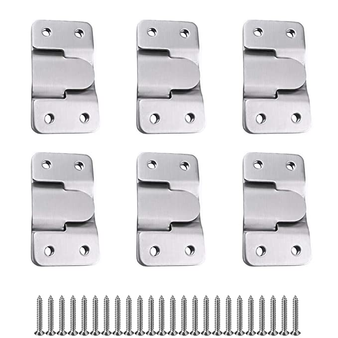 MZMing 6 Pairs 12 Pack Flush Concealed Mount Bracket Interlocking Hang Buckle Headboard Furniture Connector Stainless Steel Wall Mount Hardware Hanging for Pictures Mirrors Frames etc.