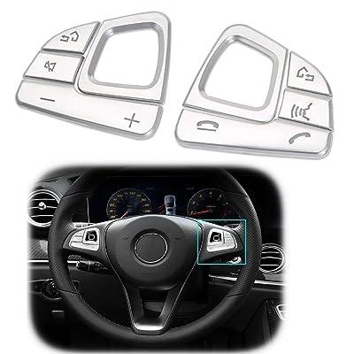 GTINTHEBOX Steering Wheel Panel Button ABS Chrome Silver Trim for 2016-2020 Benz E Class W213-8pcs: Automotive