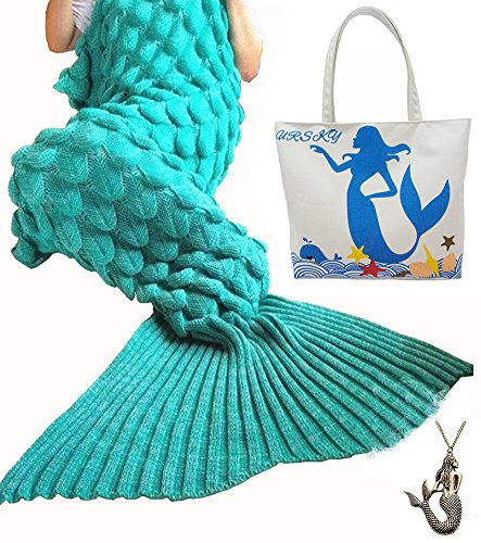 URSKY Crochet Knitted Cozy Mermaid Tail Blanket, 76.8 x 35.5 -Inch, Scale Green (Good Easy Halloween Costumes College)