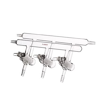 Laboy HMM011311 Glass Double Manifold Vacuum Gas Distributor for Schlenk Line with 4-Port Solid Glass Stopcock Front-Left-Right and Rear-Left Hose Opens 450 mm Length