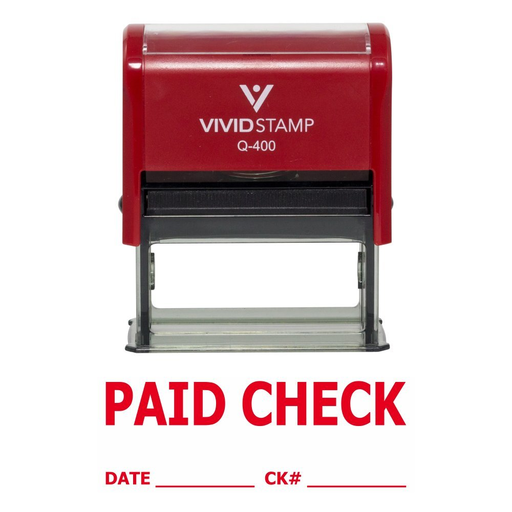 Paid Check W Date Ck Line Self Inking Rubber Stamp Red Ink X Large