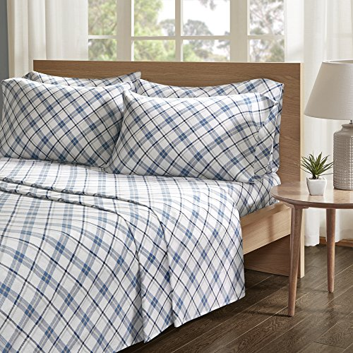 Comfort Spaces - Ultra Soft And Cozy Printed Plaid 100% Cotton Flannel Sheet Set - 6 Piece - King - Blue - Includes 1 Fitted Sheet, 1 Flat Sheet and 4 Pillow Cases (Blue Flat Sheet King)
