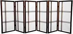 Oriental Furniture 3 ft. Tall Double Cross Shoji Screen - Walnut - 6 Panels