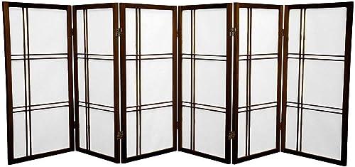 Oriental Furniture 3 ft. Tall Double Cross Shoji Screen – Walnut – 6 Panels